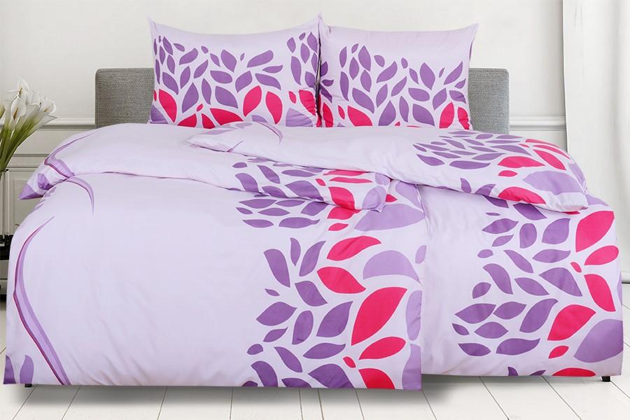 Bettwäsche aus Mikrofaser mit Baumwolleffekt PORTILA violett