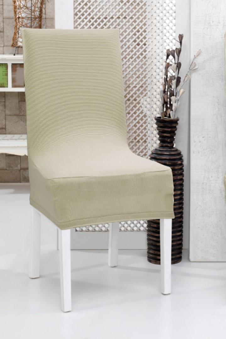 Spannbezug für Stuhl mit Rückenlehne 2 Stk. Beige