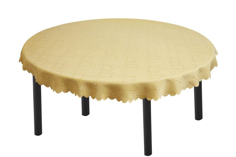 Jacquard ovale Tischdecke KUBE beige 140x220 cm
