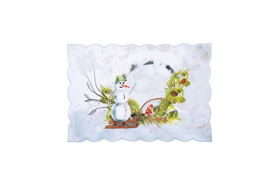 Weihnachtstischdecke SCHNEEMANN 28x43 cm