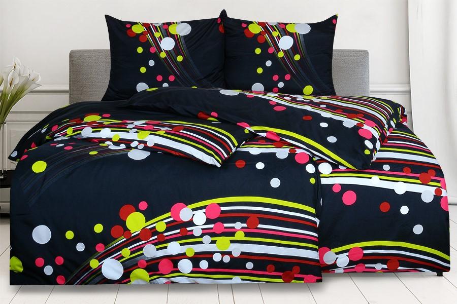 Bettwäsche aus Mikrofaser mit Baumwolleffekt in Übergröße SAVADA schwarz