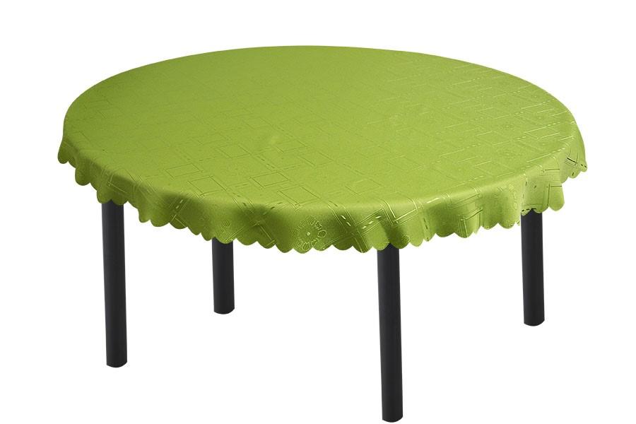 Runde Jacquard-Tischdecke KUBE Grün 140 cm