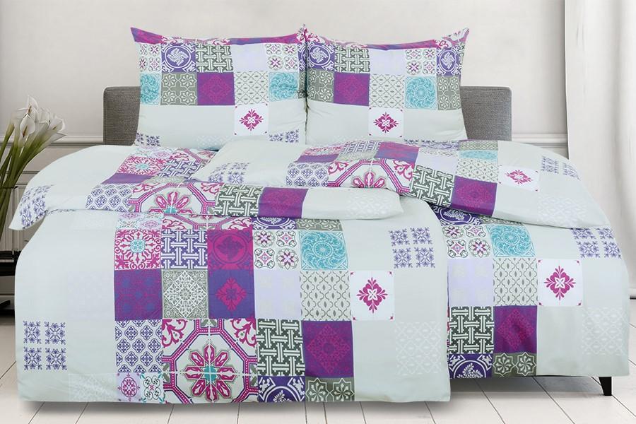 Bettwäsche aus Mikrofaser mit Baumwolleffekt 4tlg. MANSIRA violett