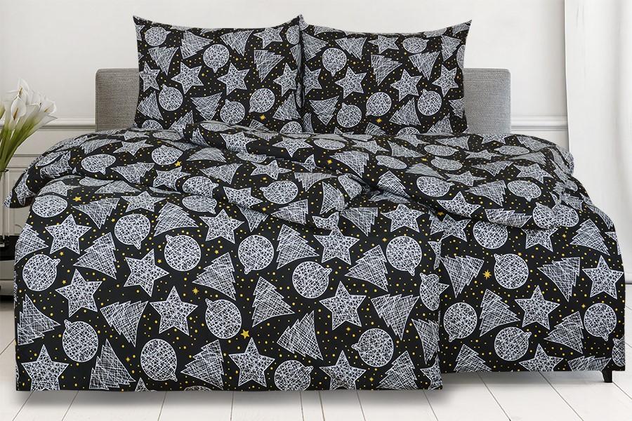 Bettwäsche aus Mikrofaser mit Baumwolleffekt in Übergröße KRISTA Schwarz