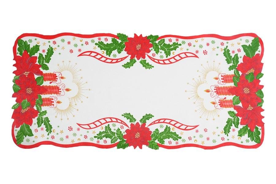 Weihnachtstischdecke Weihnachtskerzen 38x85 cm