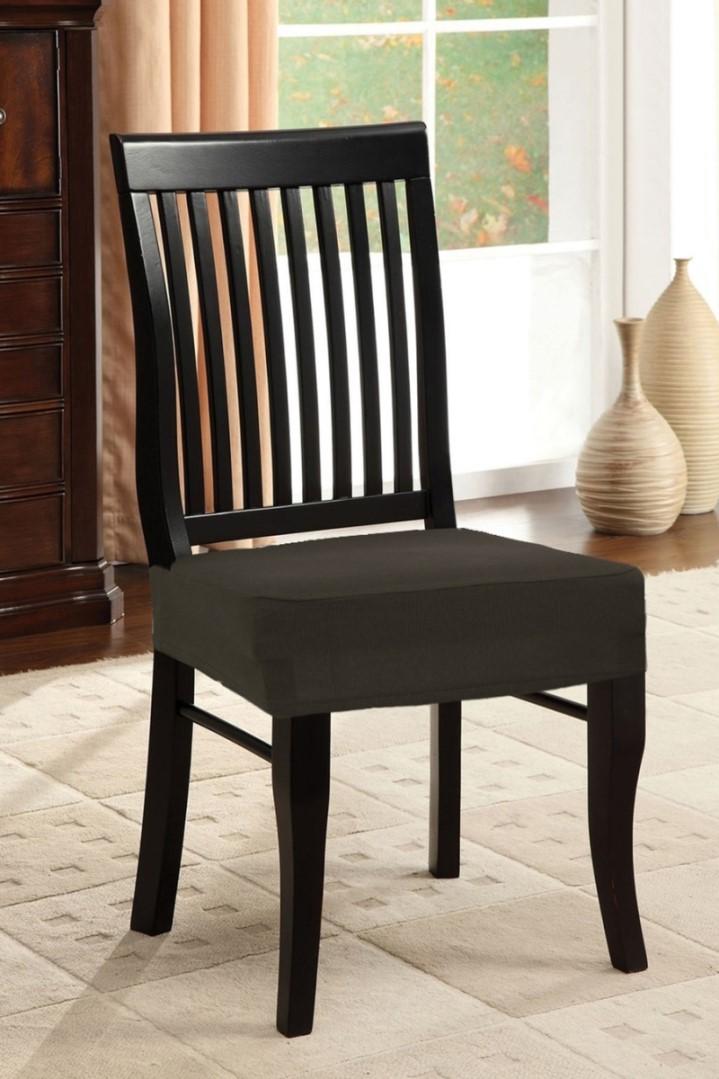 Spannbezug für Stuhl ohne Rückenlehne 2 Stk. Braun
